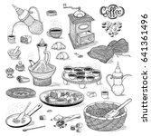 vector sketch set drawing... | Shutterstock .eps vector #641361496