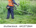 The Gardener Cutting Grass By...