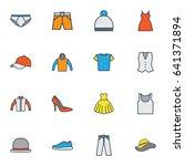 dress colorful outline icons... | Shutterstock .eps vector #641371894