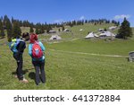 hiking   hikers walking on hike ...   Shutterstock . vector #641372884