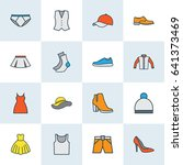 garment colorful outline icons... | Shutterstock .eps vector #641373469