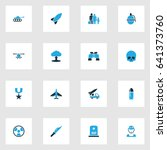 warfare colorful icons set.... | Shutterstock .eps vector #641373760