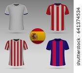 set of football kit of spanish... | Shutterstock .eps vector #641374534
