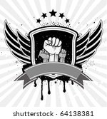 clenched fist and wing with... | Shutterstock .eps vector #64138381