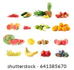 collage of different fruits on... | Shutterstock . vector #641385670