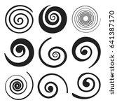set of spiral swirl elements.... | Shutterstock .eps vector #641387170