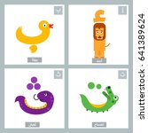 arabic alphabet colorful animal ... | Shutterstock .eps vector #641389624