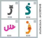arabic alphabet colorful animal ... | Shutterstock .eps vector #641389648