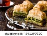 turkish dessert baklava with... | Shutterstock . vector #641390320
