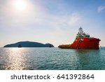 supply ship waiting to dock in... | Shutterstock . vector #641392864