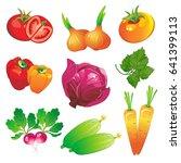 vegetable set   Shutterstock .eps vector #641399113