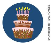 big cake with candles on the... | Shutterstock .eps vector #641409688