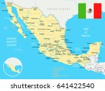 mexico map and flag   highly... | Shutterstock .eps vector #641422540
