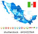 mexico map and flag   highly... | Shutterstock .eps vector #641422564