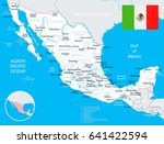 mexico map and flag   highly... | Shutterstock .eps vector #641422594