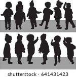 silhouette baby girl  toddler... | Shutterstock .eps vector #641431423