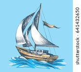 sailing boat with a flag vector ... | Shutterstock .eps vector #641432650