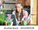 single unimpressed woman in... | Shutterstock . vector #641440528