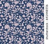 seamless floral vine rose...   Shutterstock .eps vector #641448556