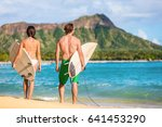 hawaii surfers people relaxing... | Shutterstock . vector #641453290