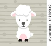 cute little sheep soft color... | Shutterstock .eps vector #641464660
