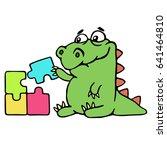 cute dinosaur assemble the...   Shutterstock .eps vector #641464810