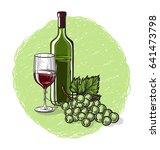 vector sketch of grapes  wine...   Shutterstock .eps vector #641473798