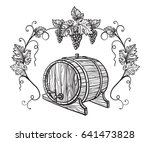 vector sketch of grapes  wine... | Shutterstock .eps vector #641473828