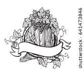 vector sketch of grapes  wine... | Shutterstock .eps vector #641473846