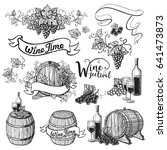 set of wine emblems in graphic... | Shutterstock .eps vector #641473873