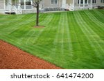 apartment building with mowed ... | Shutterstock . vector #641474200