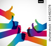hands with thumb up  like... | Shutterstock .eps vector #641482378