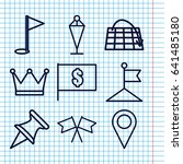 set of 9 location outline icons ...