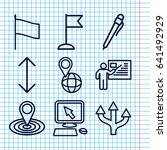 set of 9 pointer outline icons... | Shutterstock .eps vector #641492929
