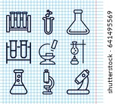 set of 9 lab outline icons such ... | Shutterstock .eps vector #641495569
