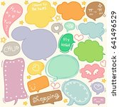 set of hand drawn speech and...   Shutterstock .eps vector #641496529