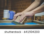 screen printing equipment and... | Shutterstock . vector #641504203