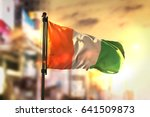 ivory coast flag against city... | Shutterstock . vector #641509873