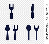 dishware icons set set of 4