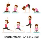 mother and daughter doing yoga... | Shutterstock .eps vector #641519650