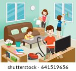 father  mother  son and... | Shutterstock .eps vector #641519656