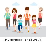 happy family running together... | Shutterstock .eps vector #641519674