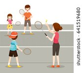family playing badminton for... | Shutterstock .eps vector #641519680