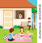 happy family relaxing with... | Shutterstock .eps vector #641520418