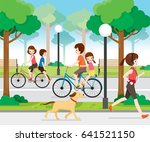 family riding bicycle in public ... | Shutterstock .eps vector #641521150