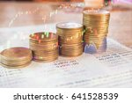 stack coin money with account... | Shutterstock . vector #641528539