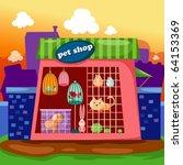 Stock vector illustration of cartoon landscape pet shop 64153369