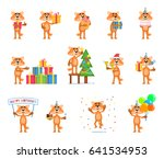 set of cartoon fox characters... | Shutterstock .eps vector #641534953