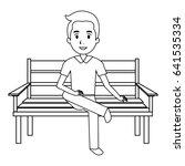 man sitting on park chair | Shutterstock .eps vector #641535334
