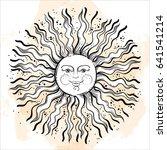 vintage russian style sun.... | Shutterstock .eps vector #641541214